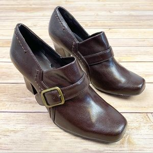Franco Sarto Brown Square Toe Buckle Shoes